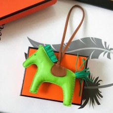 Hermes Rodeo Horse Bag Charm In Fruit Green/Camarel/Green Leather