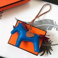 Hermes Rodeo Horse Bag Charm In Blue/Camarel/Ruby Leather