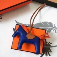Hermes Rodeo Horse Bag Charm In Blue/Camarel/Orange Leather