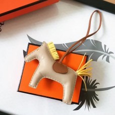 Hermes Rodeo Horse Bag Charm In Beige/Camarel/Yellow Leather