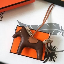 Hermes Rodeo Horse Bag Charm In Cafe/Camarel/Grey Leather