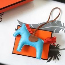 Hermes Rodeo Horse Bag Charm In Ciel/Camarel/Orange Leather