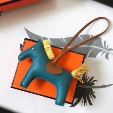 Hermes Rodeo Horse Bag Charm In Cyan/Camarel/Yellow Leather