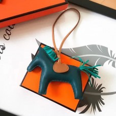 Hermes Rodeo Horse Bag Charm In Malachite/Camarel/Green Leather