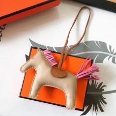 Hermes Rodeo Horse Bag Charm In Beige/Camarel/Pink Leather