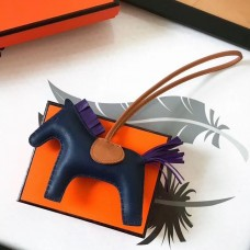 Hermes Rodeo Horse Bag Charm In Navy/Camarel/Purple Leather