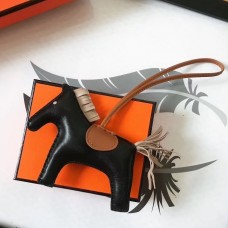 Hermes Rodeo Horse Bag Charm In Black/Camarel/Grey Leather
