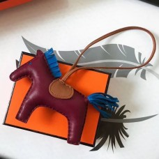 Hermes Rodeo Horse Bag Charm In Purple/Camarel/Blue Leather