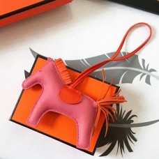 Hermes Rodeo Horse Bag Charm In Pink/Orange Leather