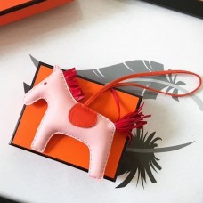 Hermes Rodeo Horse Bag Charm In Light Pink/Orange/Red Leather