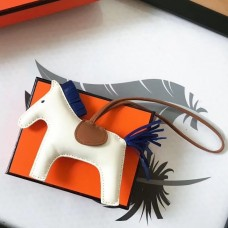 Hermes Rodeo Horse Bag Charm In White/Camarel/Blue Leather