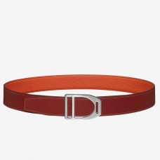 Hermes Etrier Buckle Belt & Orange Clemence 32 MM Strap