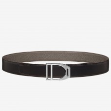 Hermes Etrier Buckle Belt & Taupe Clemence 32 MM Strap