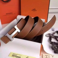 Hermes Brown Clemence Kits Belt H Brushed Buckle