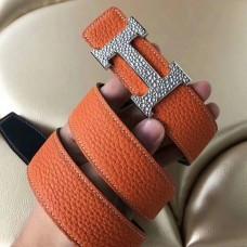 Hermes H Belt Buckle & Orange Clemence 32 MM Strap