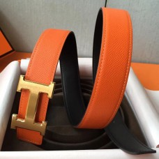 Hermes H Belt Buckle & Orange Epsom 32 MM Strap