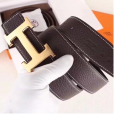 Hermes H Belt Buckle & Chocolate Clemence 32 MM Strap