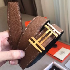 Hermes H Au Carre Belt Buckle & Brown 32mm Strap