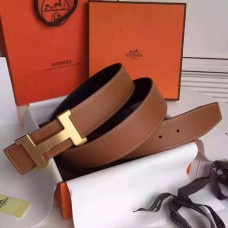 Hermes Brown Epsom Kits Belt Constance Buckle