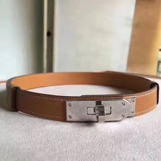 Hermes Brown Epsom Kelly Belt With Palladium Hardware