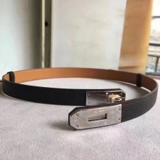 Hermes Black Epsom Kelly Belt With Palladium Hardware