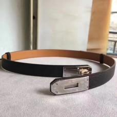 Hermes Black Epsom Kelly Belt With Palladium Hardware