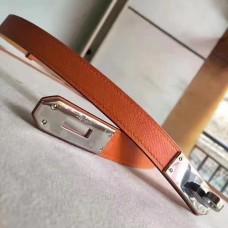 Hermes Orange Epsom Kelly Belt With Palladium Hardware
