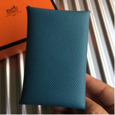 Hermes Blue Jean Epsom Calvi Card Holder