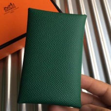 Hermes Green Epsom Calvi Card Holder