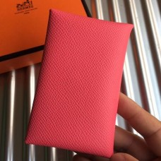 Hermes Rose Azalee Epsom Calvi Card Holder
