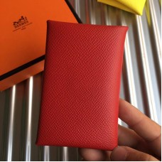 Hermes Red Epsom Calvi Card Holder
