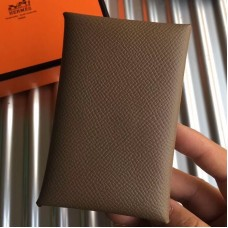 Hermes Taupe Epsom Calvi Card Holder