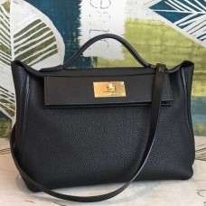 Hermes 24/24 29 Bag In Black Clemence Calfskin