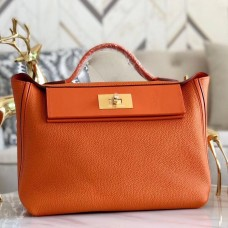 Hermes 24/24 29 Bag In Orange Clemence Calfskin