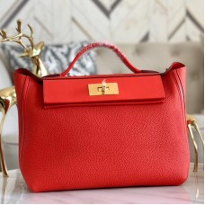 Hermes 24/24 29 Bag In Red Clemence Calfskin