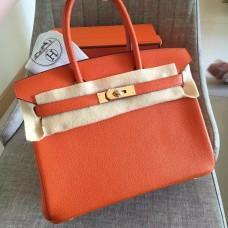 Hermes Orange Clemence Birkin 30cm Handmade Bag