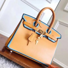 Hermes Yellow With Blue Piping Epsom Birkin 30cm Bag