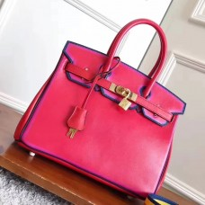 Hermes Red With Indigo Piping Goatskin Birkin 30cm Bag