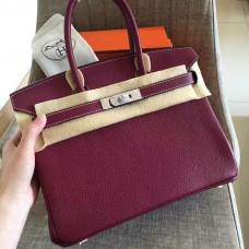 Hermes Ruby Clemence Birkin 30cm Handmade Bag