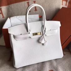 Hermes White Clemence Birkin 30cm Handmade Bag