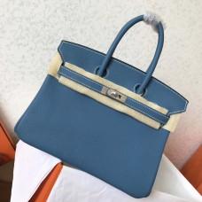 Hermes Blue Jean Clemence Birkin 25cm Handmade Bag