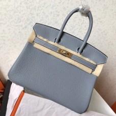 Hermes Blue Lin Clemence Birkin 25cm Handmade Bag