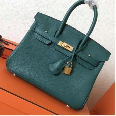 Hermes Malachite Clemence Birkin 25cm Handmade Bag