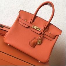 Hermes Orange Clemence Birkin 25cm Handmade Bag