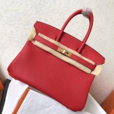 Hermes Red Clemence Birkin 25cm Handmade Bag