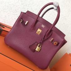 Hermes Ruby Clemence Birkin 25cm Handmade Bag