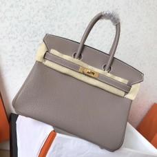 Hermes Tourterelle Clemence Birkin 25cm Handmade Bag