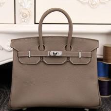 Hermes Birkin 30cm 35cm Bag In Etoupe Clemence Leather