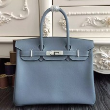 Hermes Birkin 30cm 35cm Bag In Blue Lin Clemence Leather