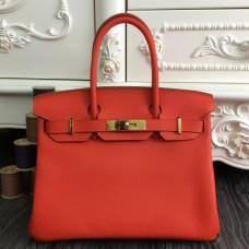 Hermes Birkin 30cm 35cm Bag In Orange Clemence Leather